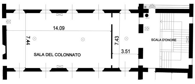 Planimetria Colonnato- location eventi milano